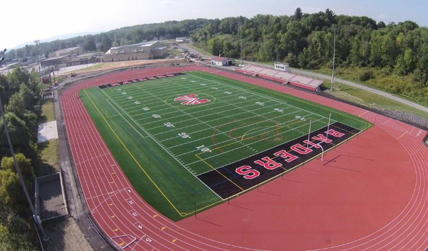 Aerial view of the new athletic field